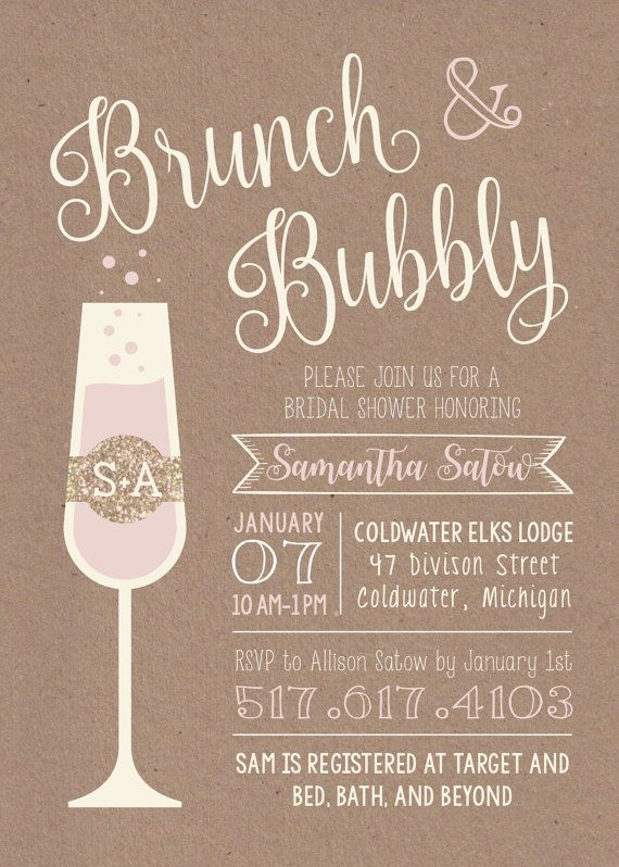 Brunch bubbly printable bridal shower invitation etsy for Wedding brunch invitations