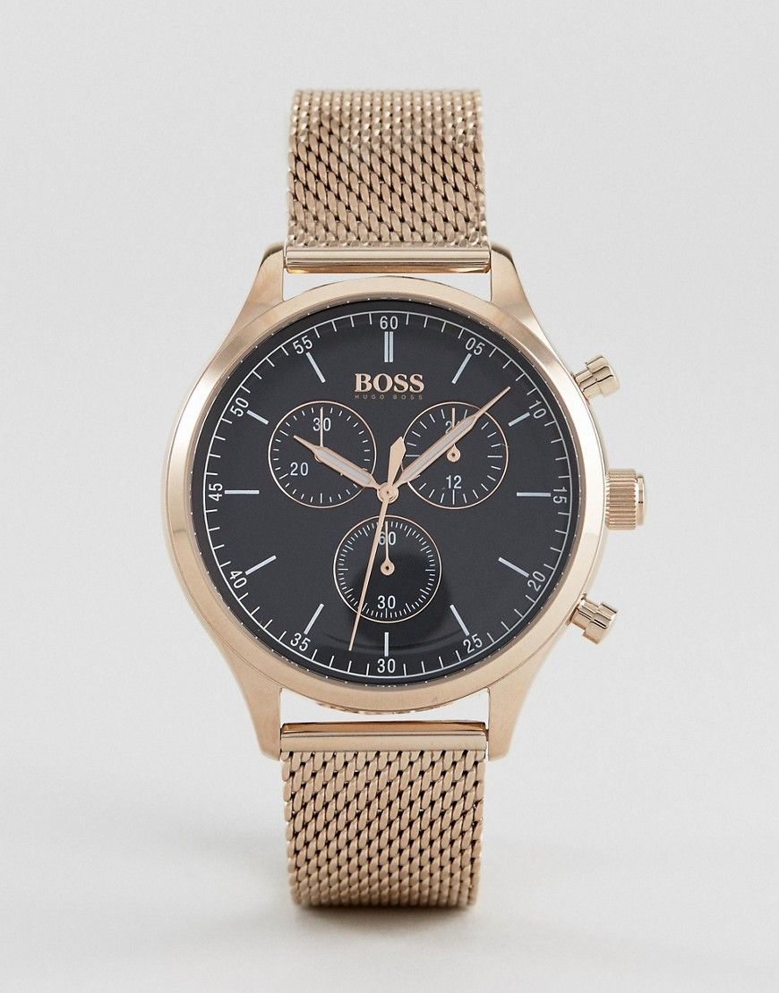 BOSS BY HUGO BOSS 1513548 COMPANION CHRONOGRAPH MESH WATCH IN ROSE GOLD -  GOLD.  boss   57be37fe0f9e