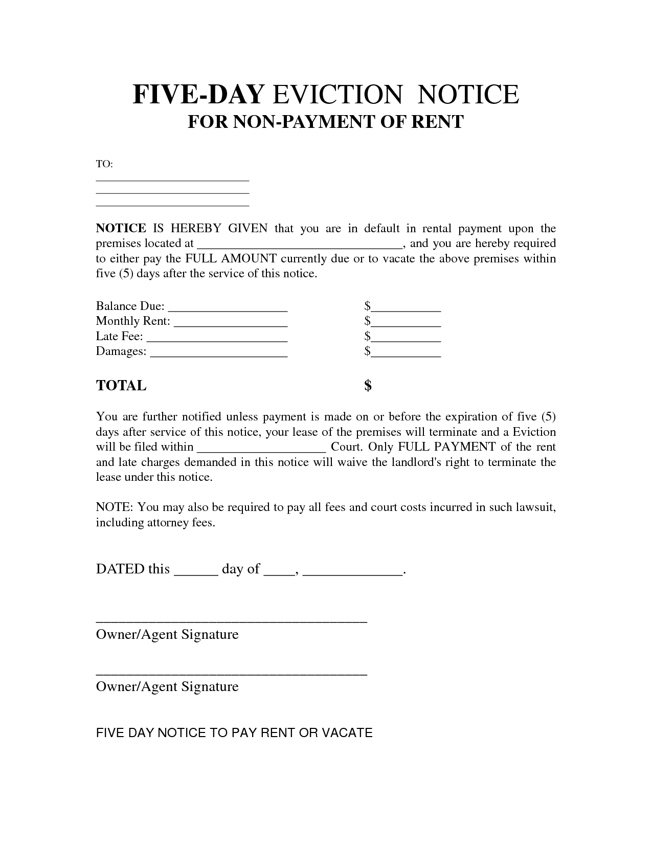 Free Printable Eviction Notice Letter | Bagnas   5 Day Eviction Notice  Landlord Eviction Notice Sample