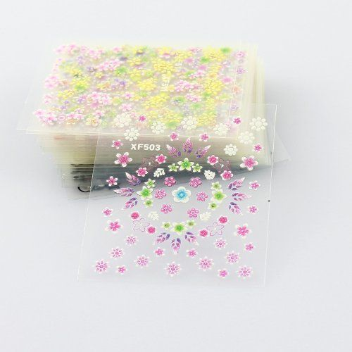 Amazon.com : MAKARTT®50 Sheets 3D Nail Decals Tip Nail Art Sticker Mix Color Self-adhesive Flower Decal Decoration : Beauty