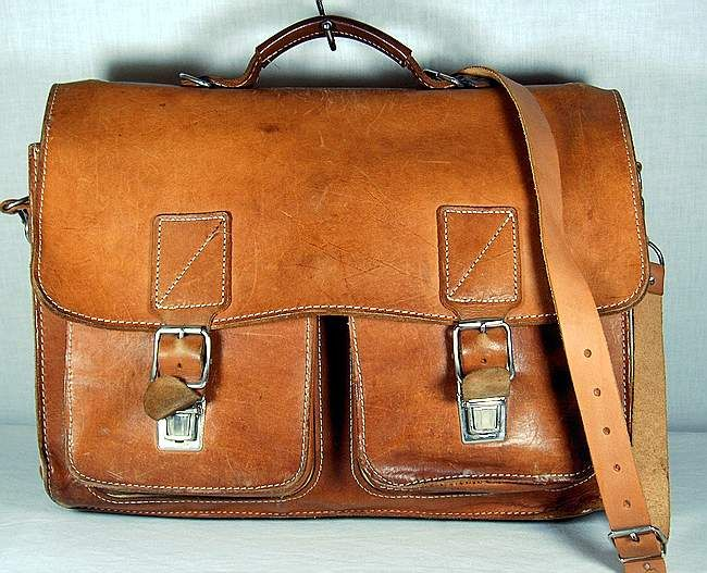 SCHOOL BAG SATCHEL BRIEFCASE AUTHENTIC VINTAGE LEATHER | Threads ...
