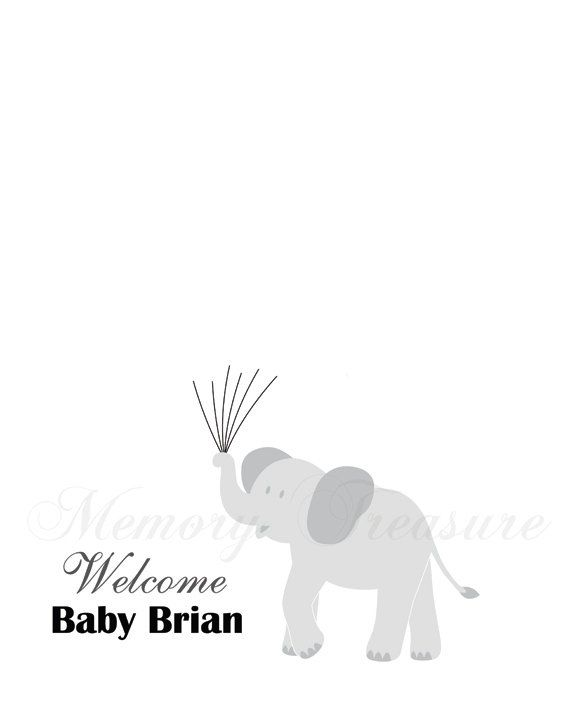 Baby Shower Guest Book Alternative Elephant Thumbprint Guestbook ...