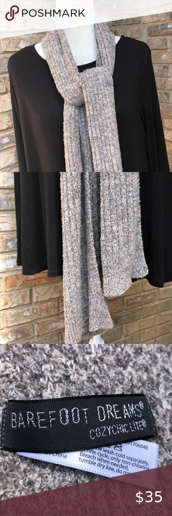 Barefoot Dreams cozy chic life gray scarf, EUC Mixture of gray-khaki-ivory  Super soft  Offers are welcome. Bundle this item with others in my closet for the best deal. Bundling saves you shipping costs. All items from a smoke-free, dog-friendly home. Thank you for shopping in my Posh closet!💕 Barefoot Dreams Accessories Scarves & Wraps