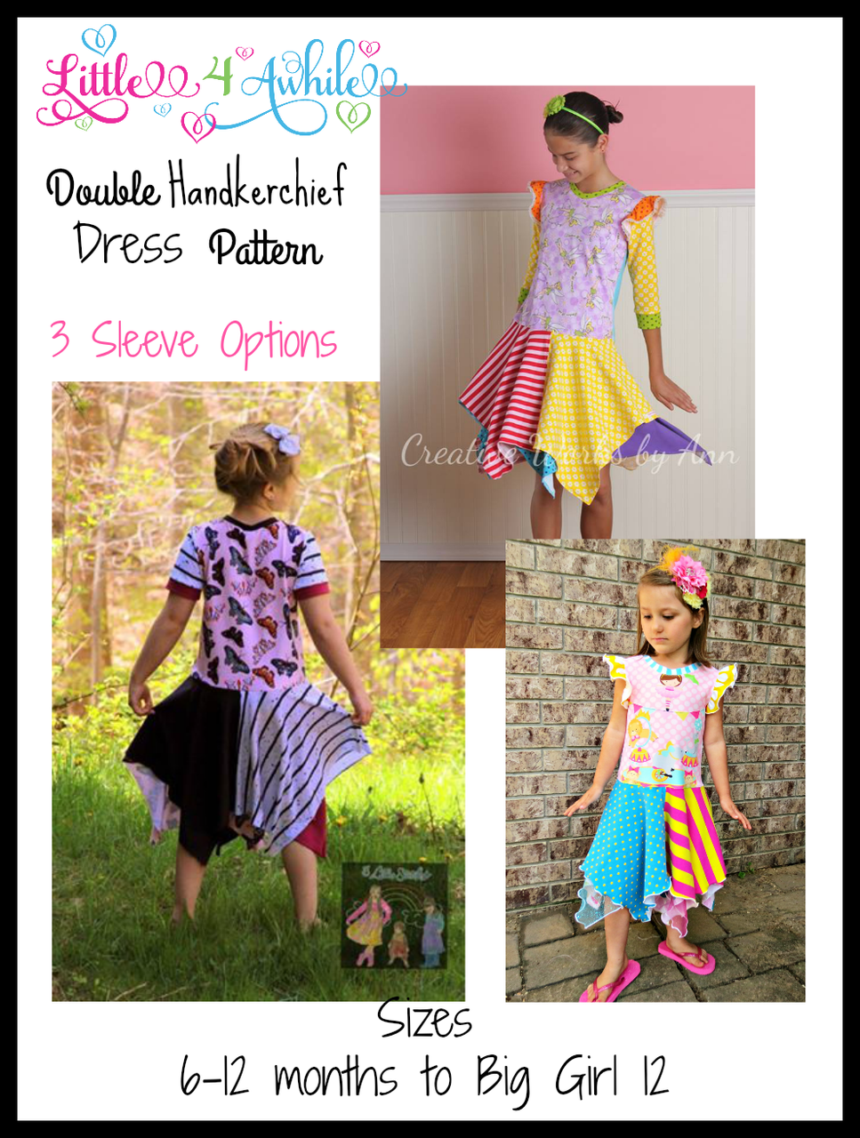 Girls Double Handkerchief Twirl Dress Pattern  #sew #fabric #sewing #dress #sewingpattern #clothing #pattern #sewingboss #style #fashion