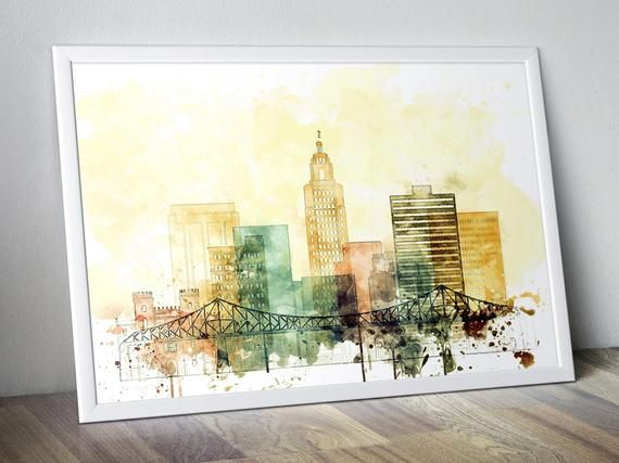 Baton Rouge Watercolor Poster for Living Room #walldecorart #wallartsale #wallpictures #walldecorpaintings #decorationwall #homewalldecor #artposterprints #watercolorposter #officeartwork #bedroomwalldecor #wallartforsale #livingroomwallart #batonrouge