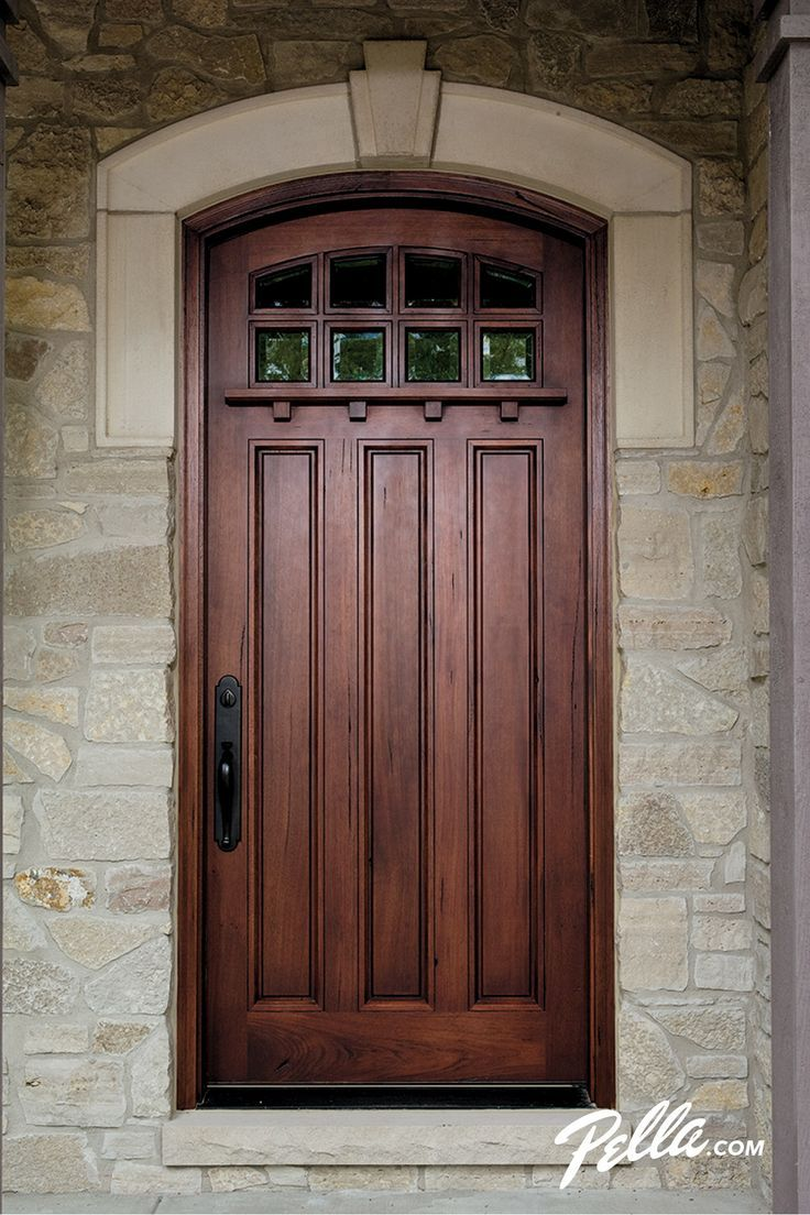 Wood entry doors from pella rustic home exterior design for Front door enters into kitchen