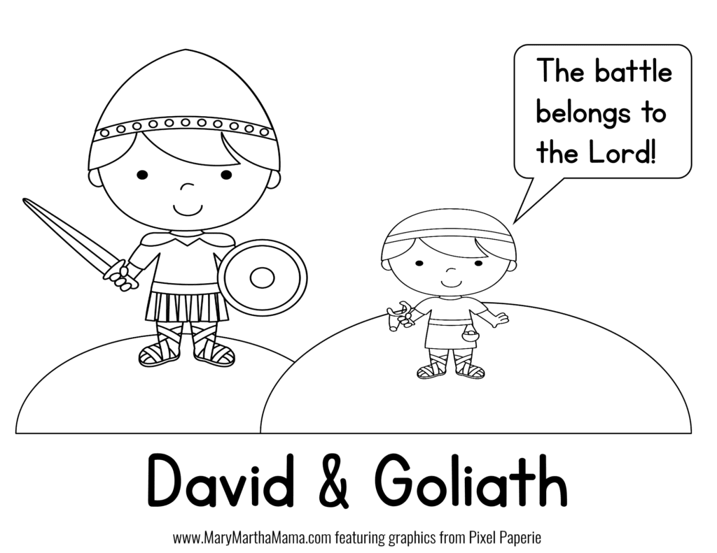 David Goliath Prek Pack Free Mini Pack A Mary Martha Mama David And Goliath Craft David And Goliath Sunday School Coloring Sheets