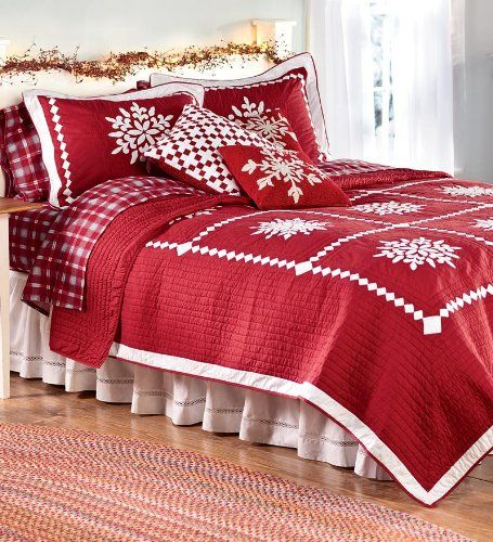 Crystal Snowflake Cotton Full Queen Quilt Set Christmas Quilts