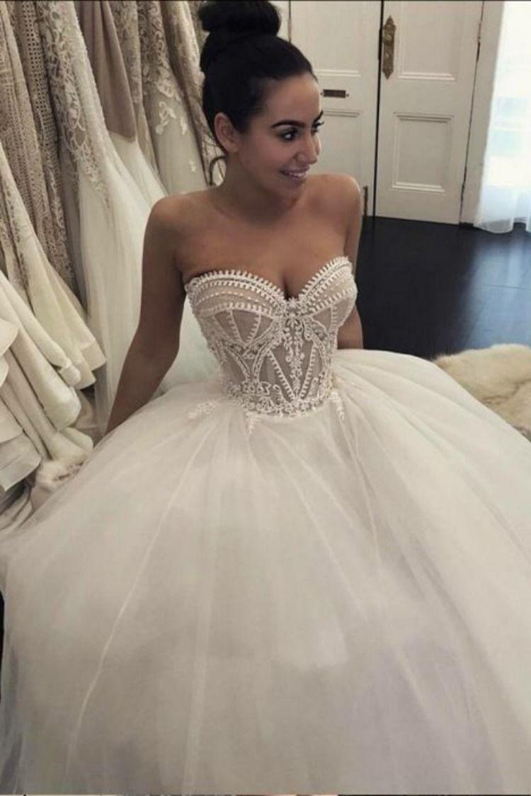 b61ad99e06b0 Puffy Sweetheart Neckline Tulle Ball Gown Wedding Dresses, Sexy Bridal Dress  W47 #ballgownweddingdresses #weddingdress