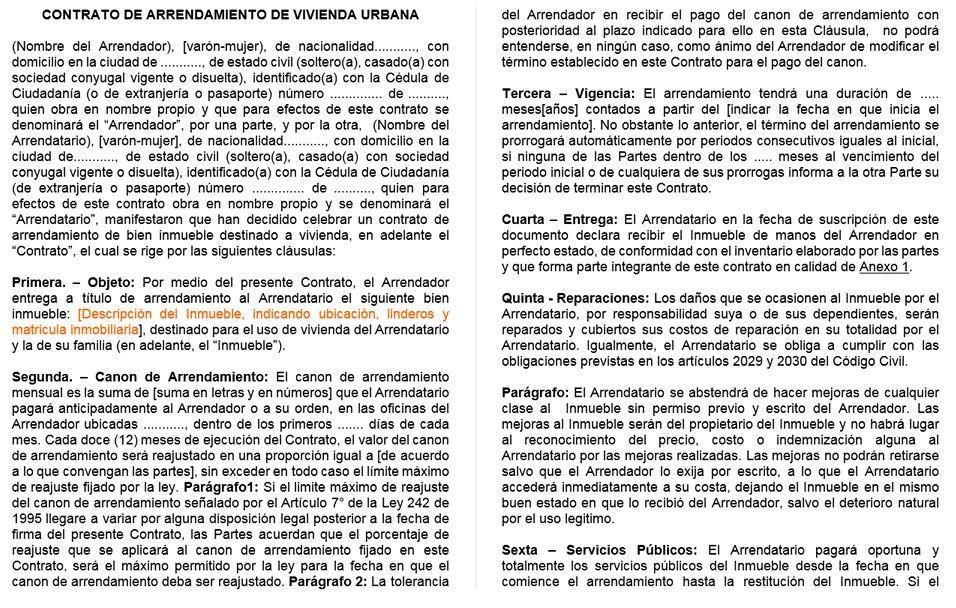 Ejemplo de contrato de alquiler de vivienda | Lugares y espacios ...