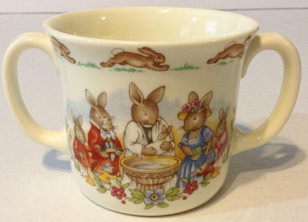 Vintage Royal Doulton Bunnykins Christening Mug 2 Handle