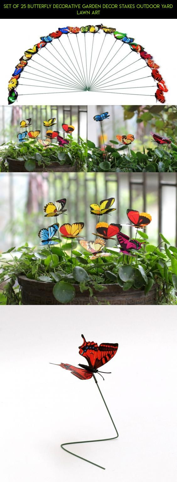 Set of 25 Butterfly Decorative Garden Decor Stakes Outdoor Yard Lawn ...