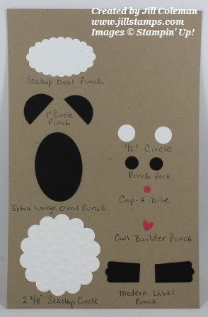Stampin' Up! Punch Art Sheep Punch List