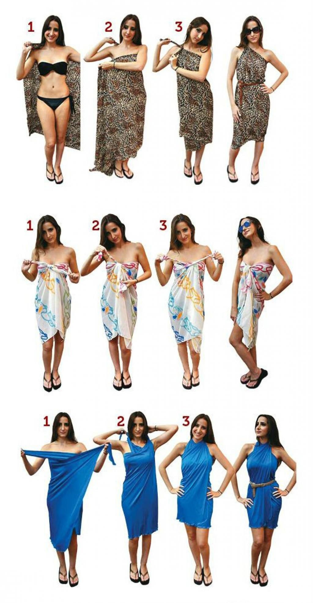 LEARN HOW TO TIE A PAREO TO MAKE SHORTS, A SKIRT AND A DRESS IN A FEW GESTURES!