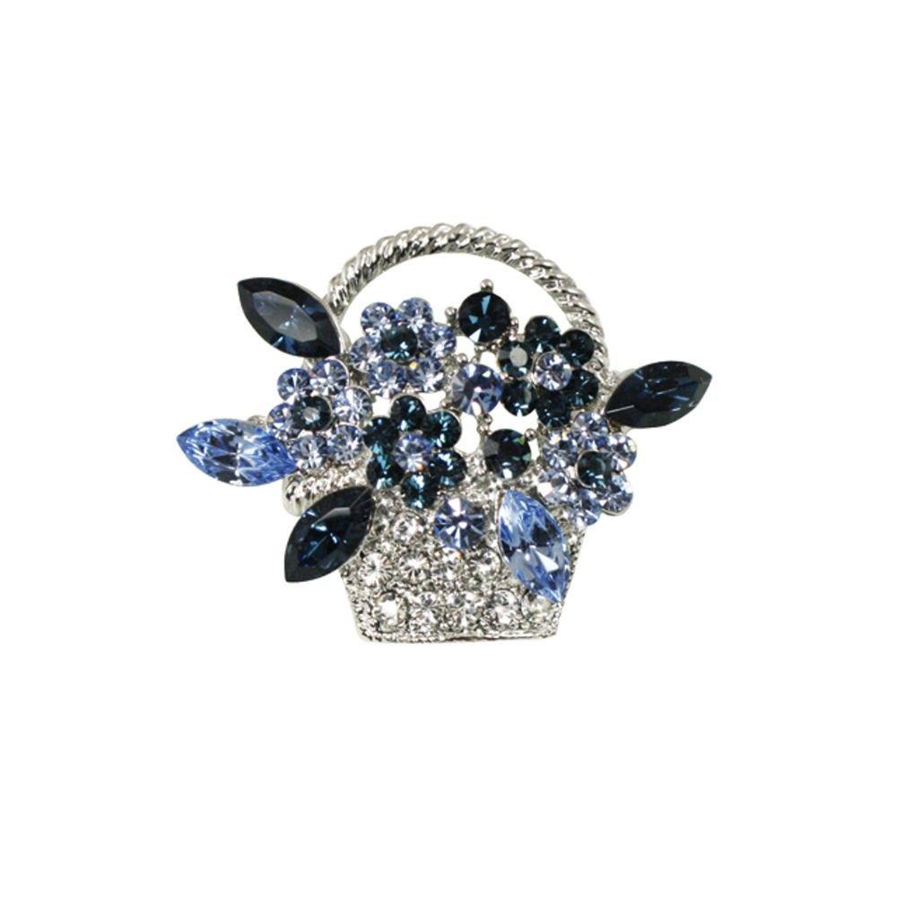 Swarovski Crystal Floral Brooch (Silver&Sapphire) if5SOvWri
