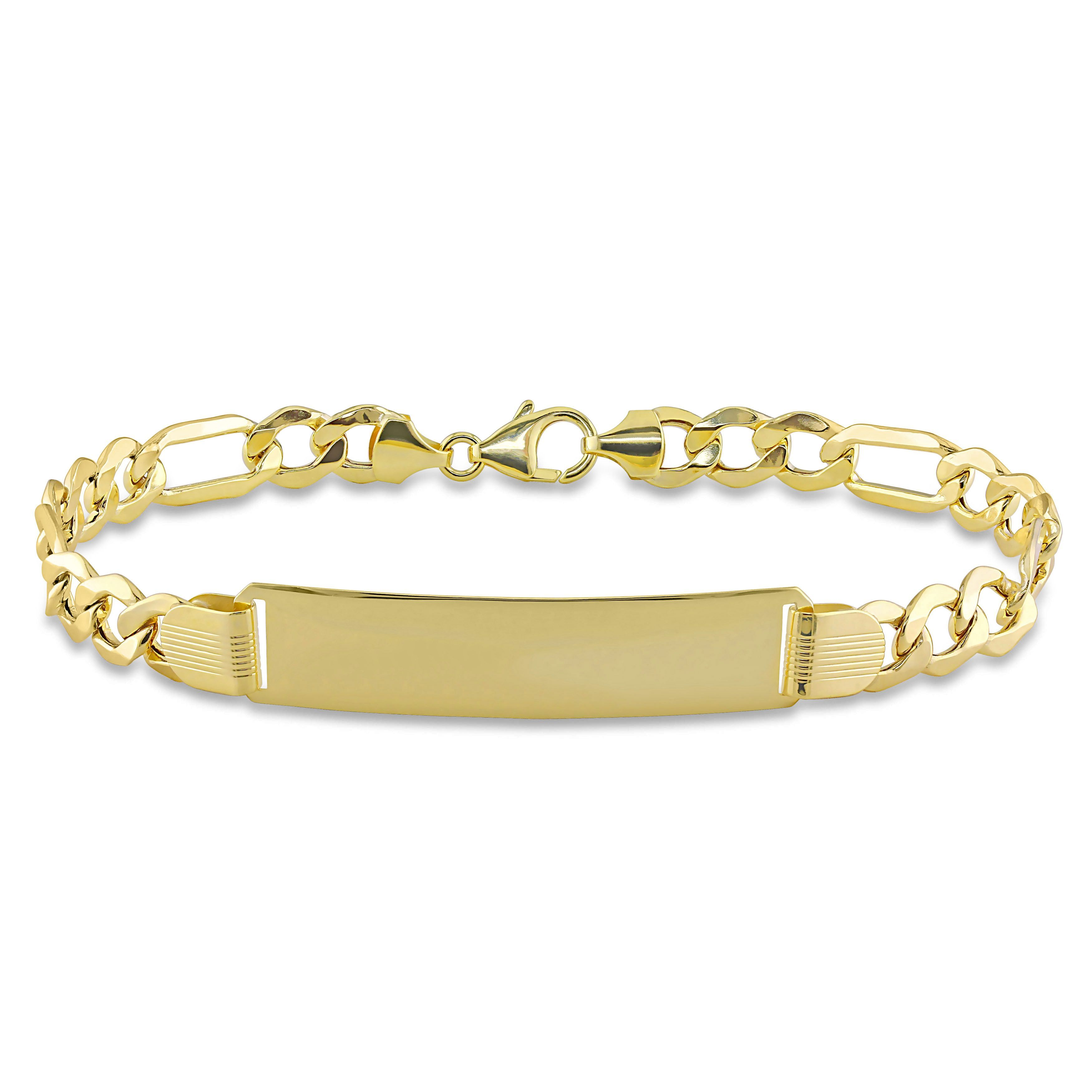 Miadora k yellow gold mens id link bracelet size inch