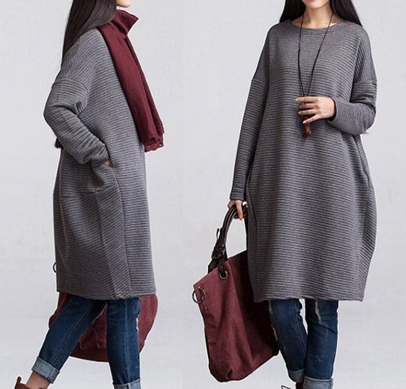 Oversize Gray Hoodie Long Sleeve Loose Dress Grey Cotton Blouse Top Women Plus Size Clothing SD056