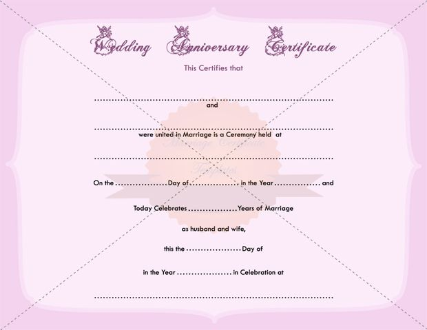 Wedding Anniversary Certificate Printable Template