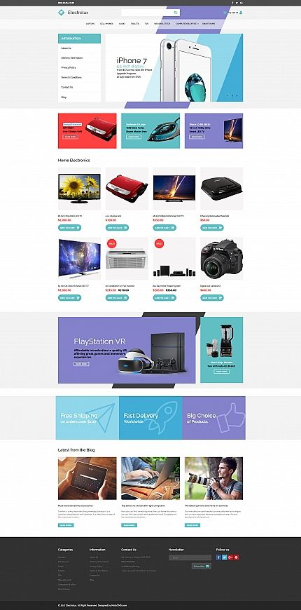 Template Electrolux Electronics Responsive MotoCMS Ecommerce - Ecommerce template