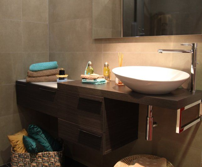 Vasque grand bol incliné Deco Pinterest Mood boards - teck salle de bain sol