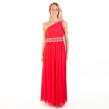 Blondie Nites Juniors One-Shoulder Beaded Chiffon Gown | from Von ...