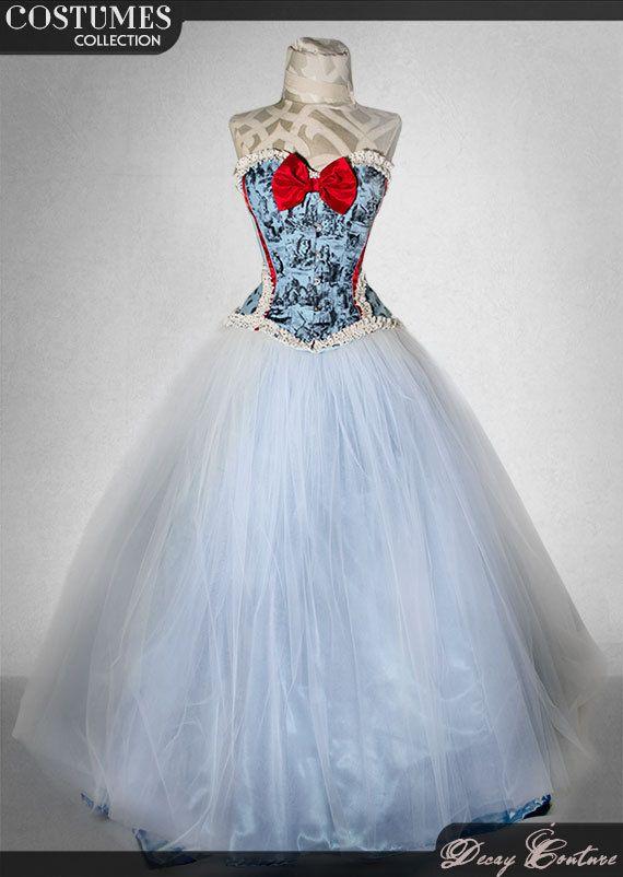 ALICE IN WONDERLAND wedding dress, with extremely wide crinoline skirt, victorian corset wedding