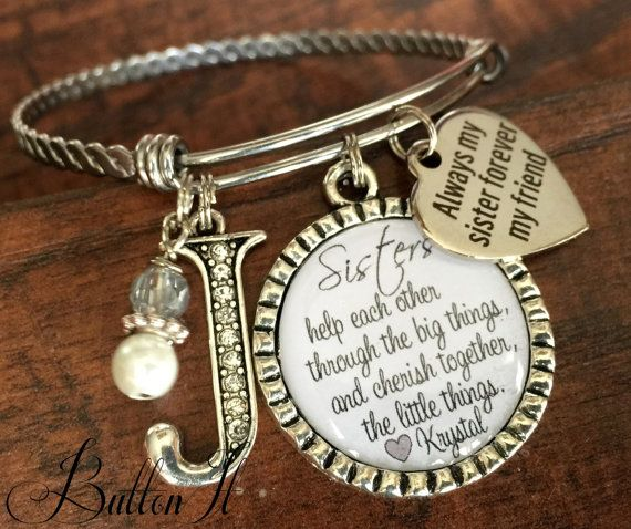 Sister Bracelet Jewelry Gift Quote Christmas Birthday Side By Or Miles Apart Bangle