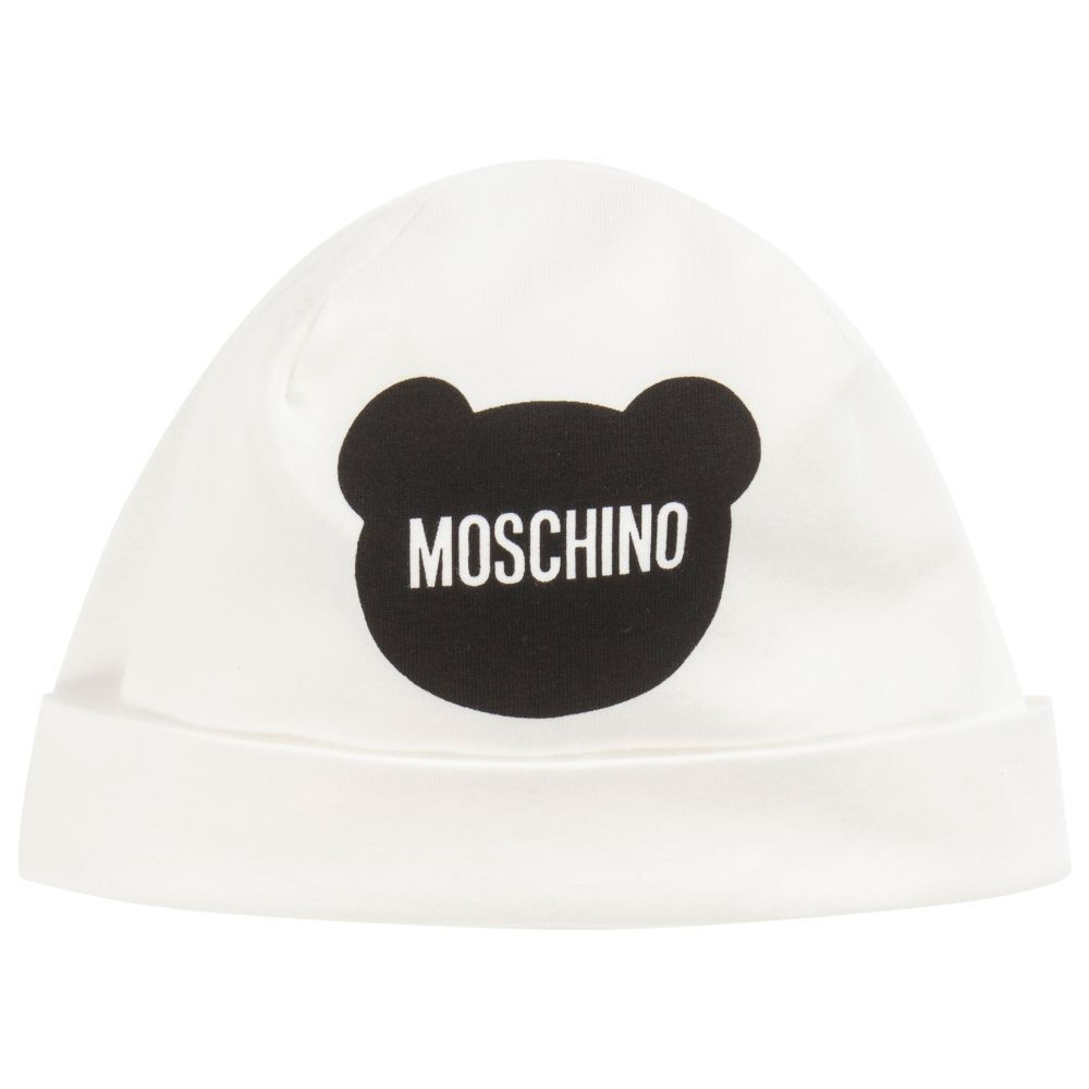 743ac79487bd0 Unisex ivory cotton jersey baby hat from Moschino Baby. Soft and stretchy