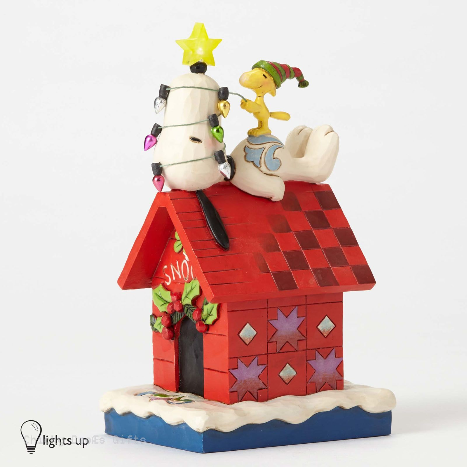 Enesco Jim Shore Peanuts Collection Snoopy Doghouse Lighted Star