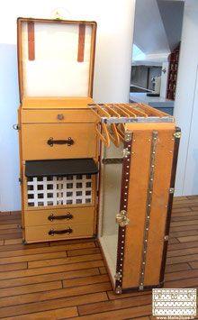 Malle Secretaire Wardrobe Louis Vuitton 1915 Vintage Suitcases Steamer Trunk Travel Trunk