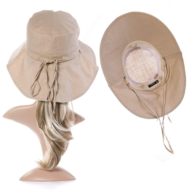 41ed0c3dd76 Siggi Womens Summer Flap Cover Cap Cotton UPF 50+ Sun Shade Hat with Neck  Cord Wide Brim Khaki