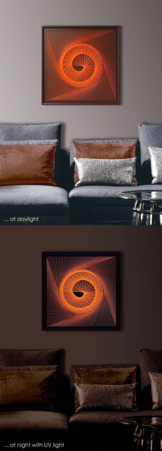 """UV Wall Art, Spiral in a Spin in Orange, Abstract Wall Decor, Modern String Art, Framed 18,5""""x 18,5"""" (47x47cm), ready to hang - pinned by pin4etsy.com"""