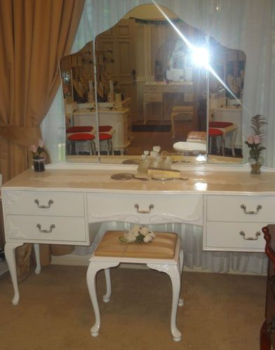 Vintage Queen Anne Provincial White Dressing Table Only 11 Brisbane Ebay