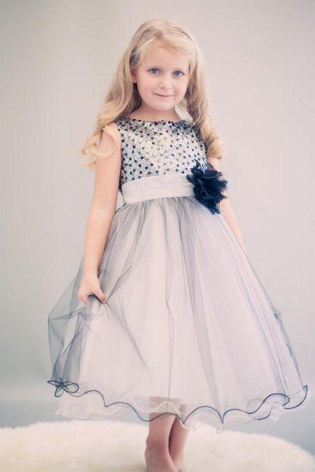 6549f5e433ae Silver Black Multi-Sequin Trio Color Tulle Flower Girl Dress ...