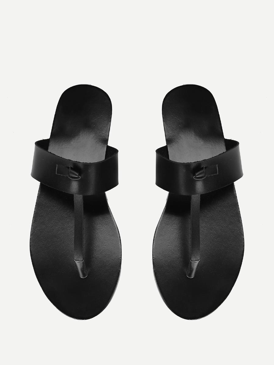 ee461c25bb3d Toe Post PU Flat Sandals -SheIn(Sheinside)