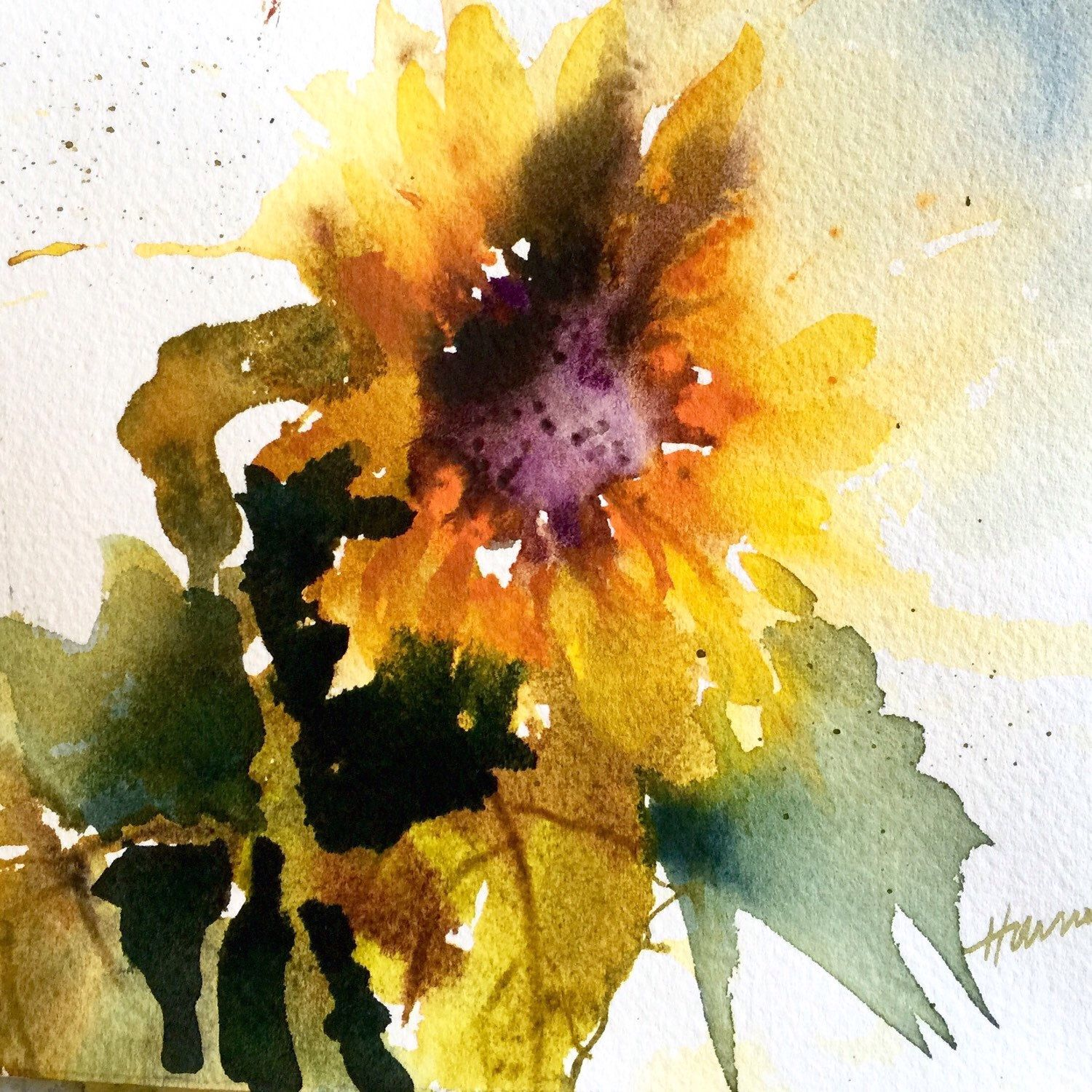 Original Sunflower Watercolor Art, Painting, Home Decor ...
