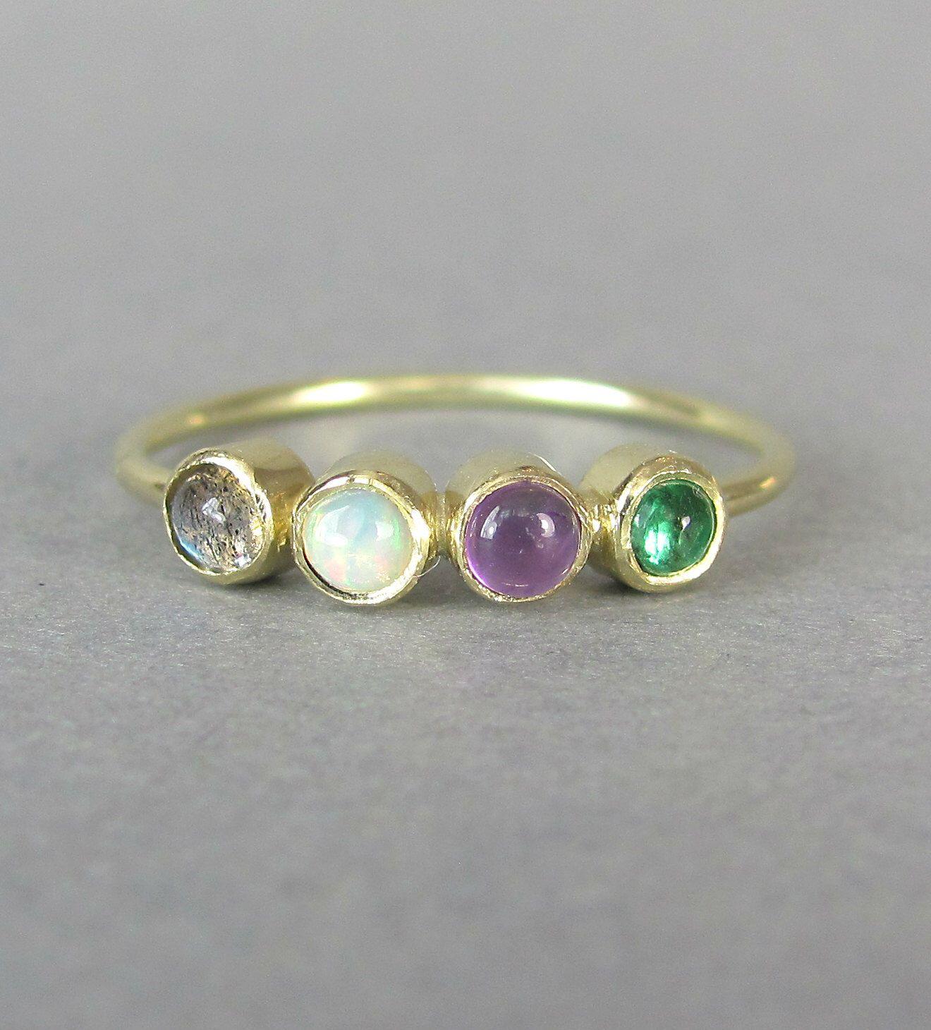 labradorite wedding ring LOVE acrostic gold ring handmade engagement ring labradorite opal violet amethyst emerald minimalist stacking ring wedding ring
