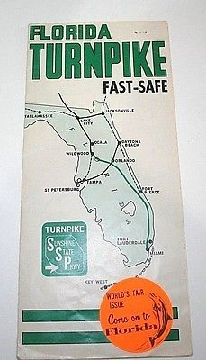 Turnpike Florida Map.Florida Turnpike Map 1964 Ny Worlds Fair Travel Brochure Sunshine
