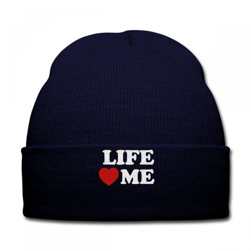 LIFE LOVE ME embroidery Knit Cap