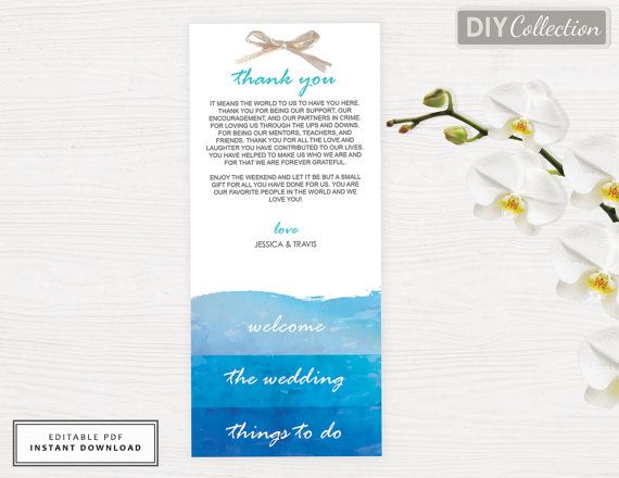 beach wedding welcome bag note destination wedding welcome welcome letter watercolor template