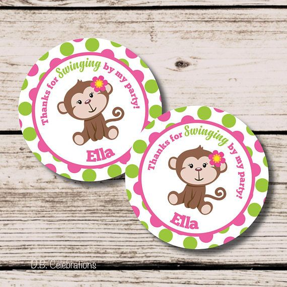 Monkey Favor Tag Printable Thank You Tag Monkey Tag Printable DIY
