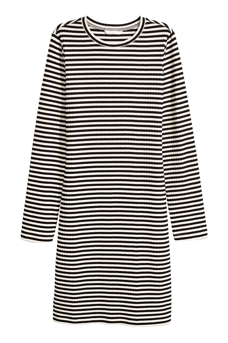 793c6e2cdd80 Jersey dress   Style   White fitted dress, Black white stripes ...