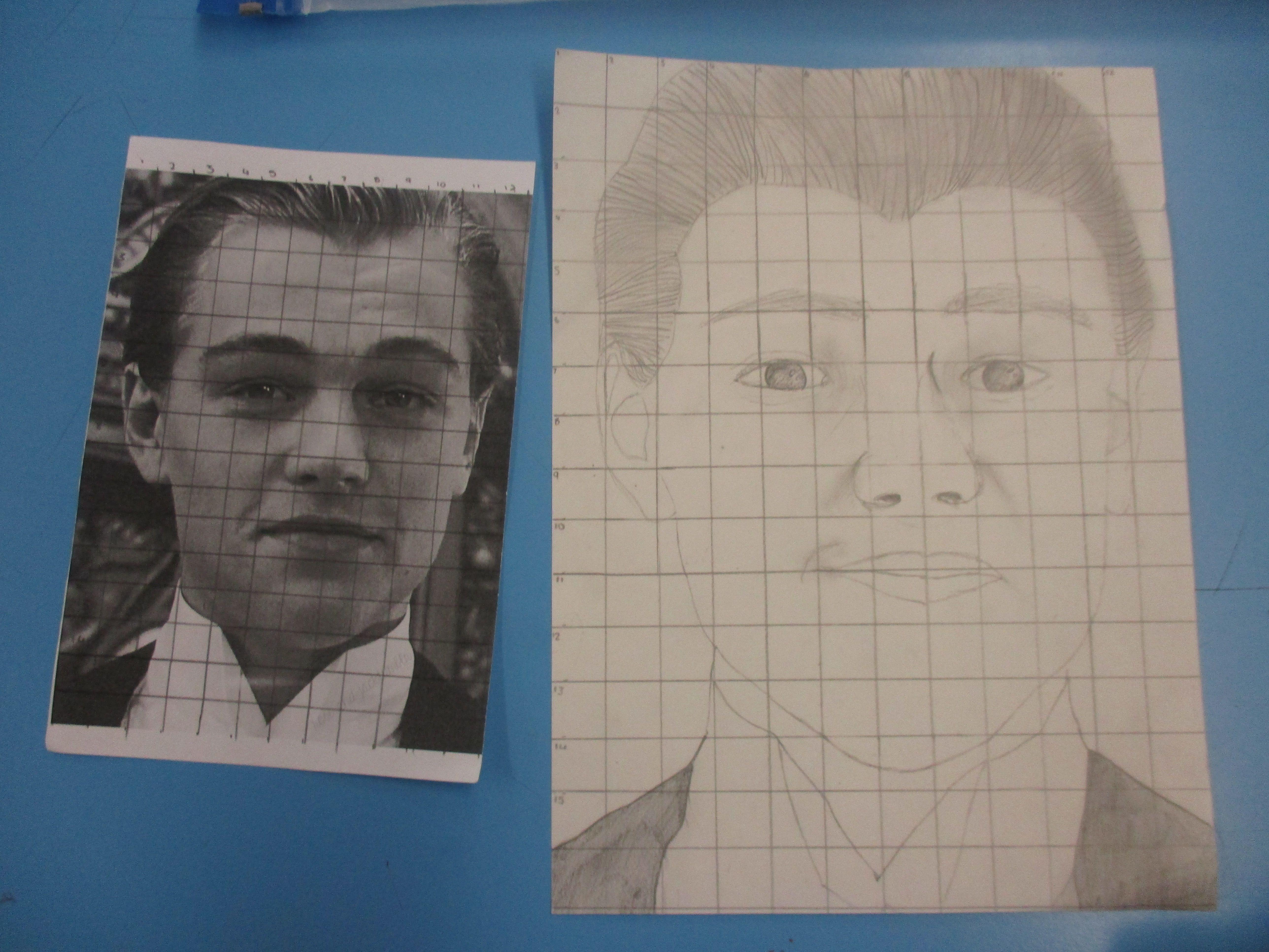 Tonal Drawings Of Portraits Using The Grid Method In