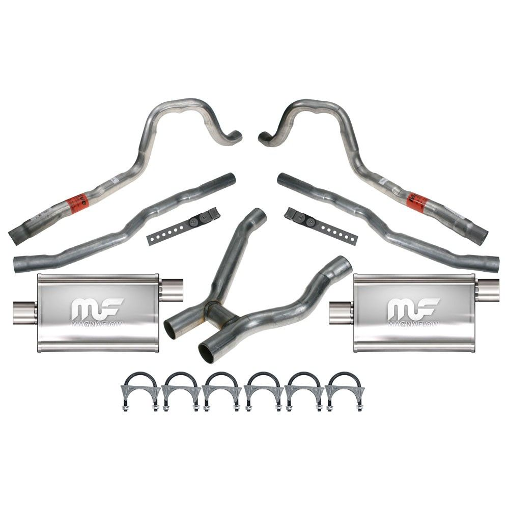 Dual Exhaust System 2 1 4 With Magnaflow Mufflers Mustang 289 302 With Tri Y Headers 1965 1970 Muffler Classic Mustang Exhausted