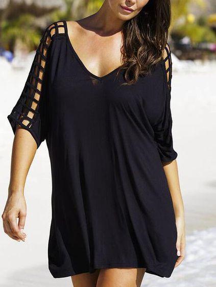 Double V-Neck Caged Sleeve Oversized Dress - Black Mobile Site
