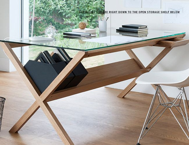 this is a desk that opens up to the world glass top slim top - Design Desks