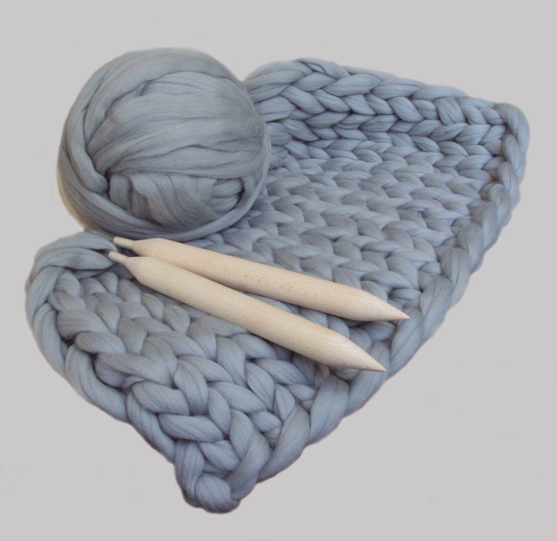 DIY Knit Kit for Giant Chunky Knit Blanket. Chunky DIY