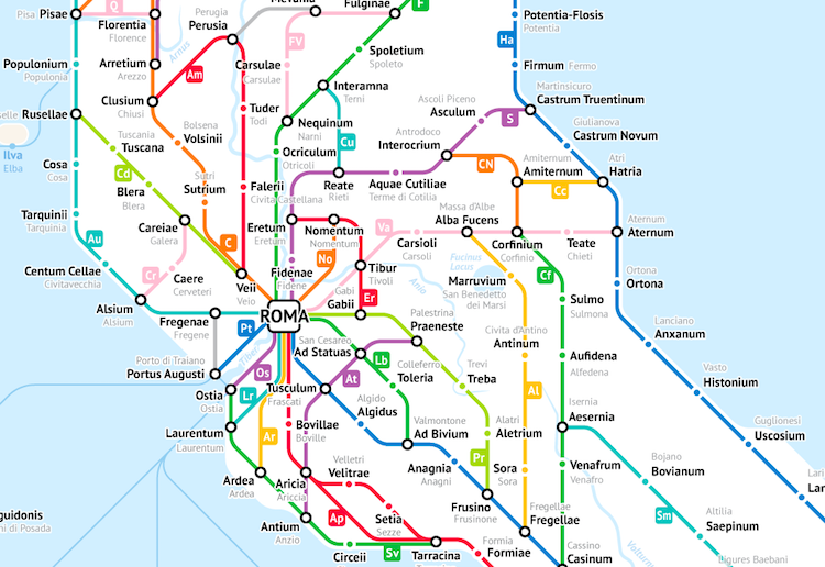 Ancient Rome Subway Map.Ancient Roman Roads In Italy Transformed Into A Modern Subway Map