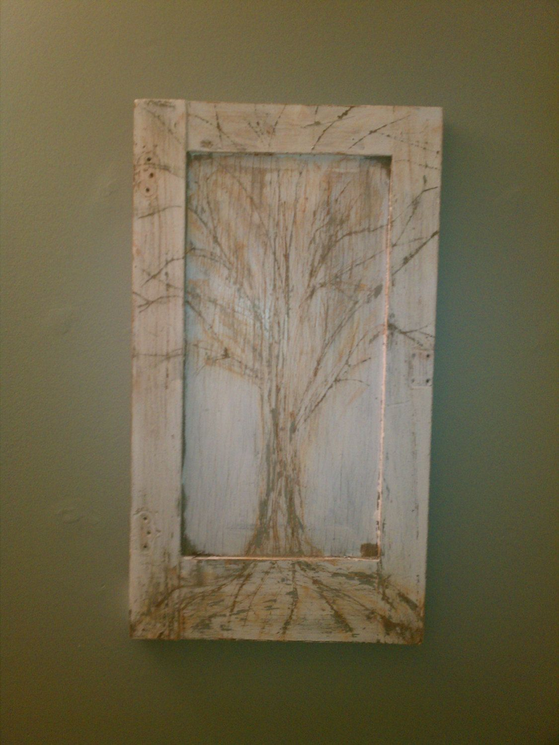 Repurposed old cabinet door wall hanging with tree via