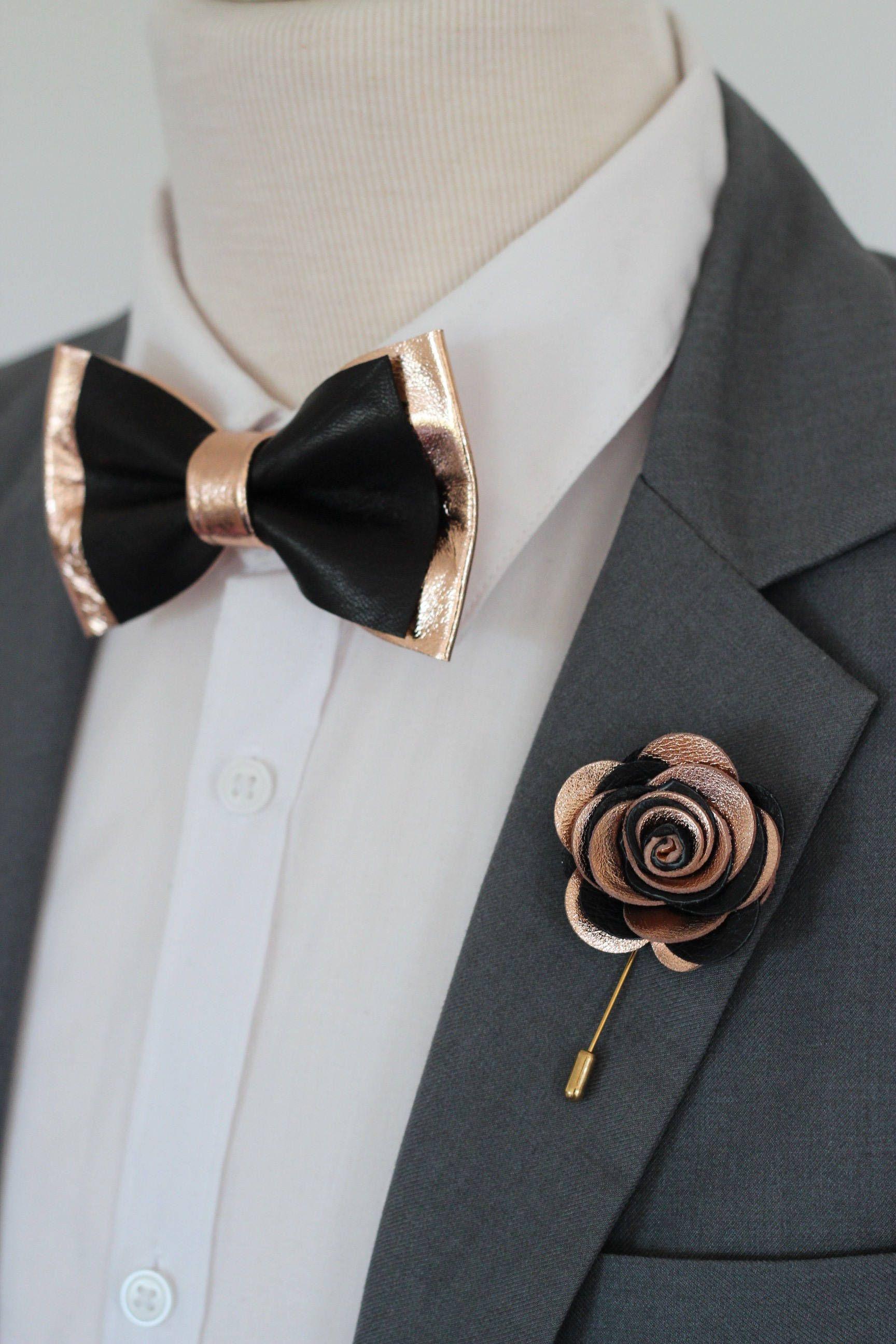 Rose Gold flower lapel pin,bow tie,rose gold wedding